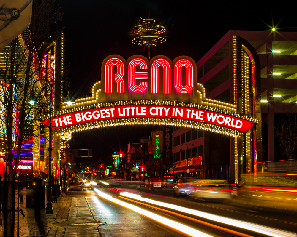 The famous newer Biggest Little City in the World sign in Reno Nevada