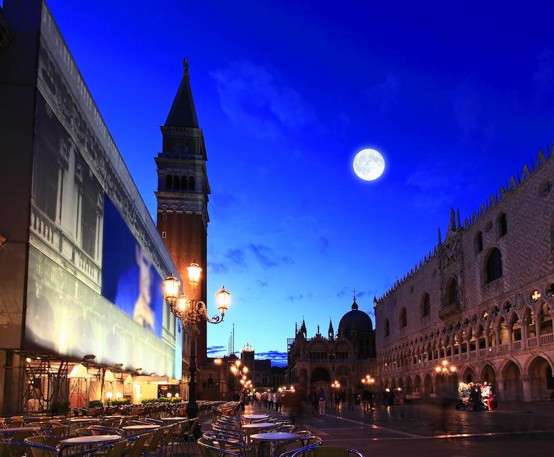 The night scene of San Marco Plaza in Venice