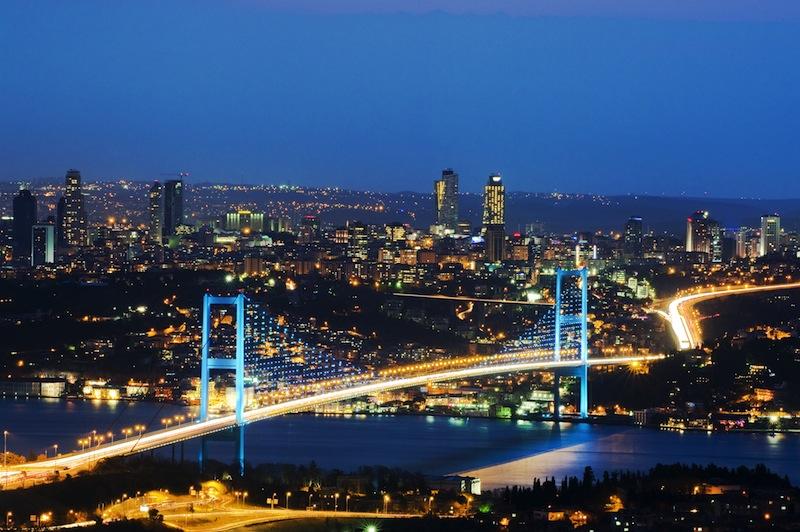The night view of Bosphorus Bridge