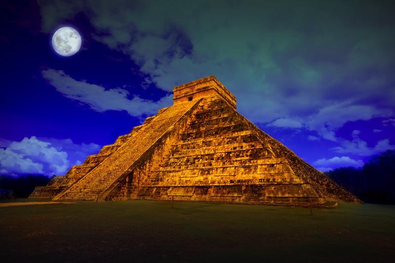 The pyramid of Kukulcan at Chichen Itza at full moon jpg
