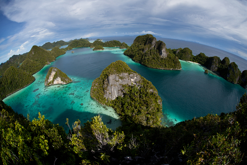 The remote limestone islands of Wayag in Raja Ampat Indonesia support shallow coral reefs that serve as a nursery for a wide variety of reef fish