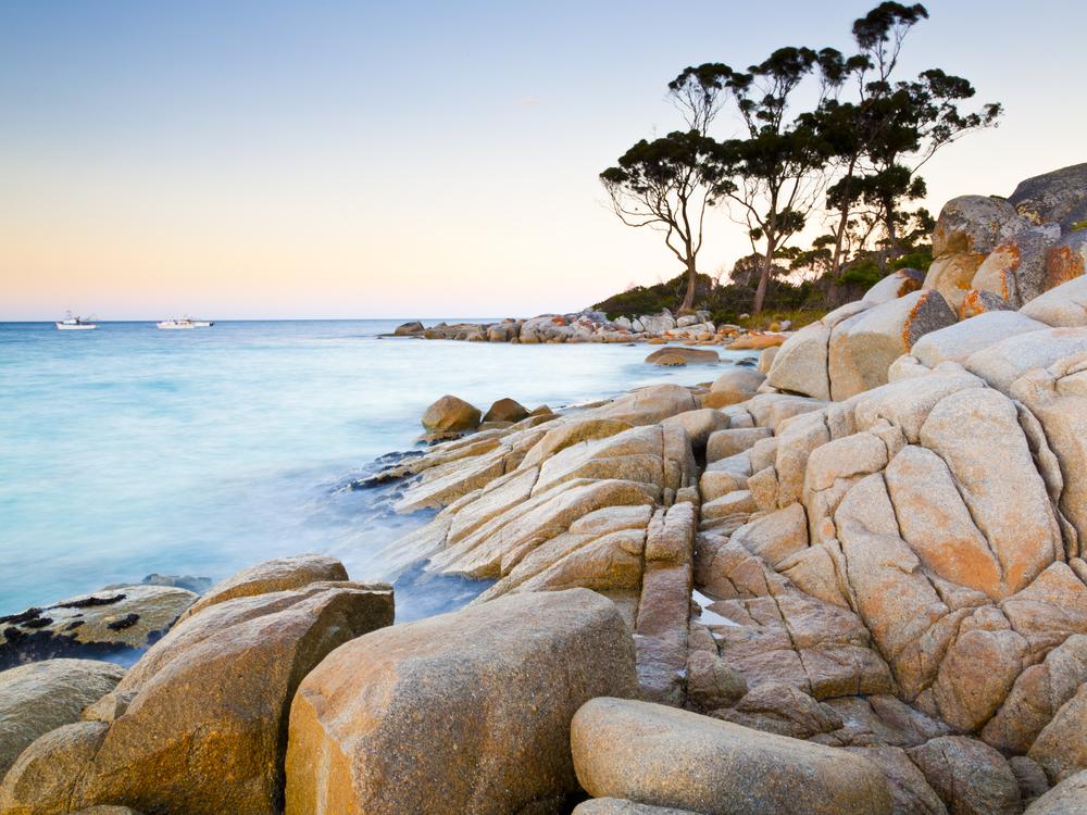 The rocky end of the beach at Binalong Bay Tasmania Australia