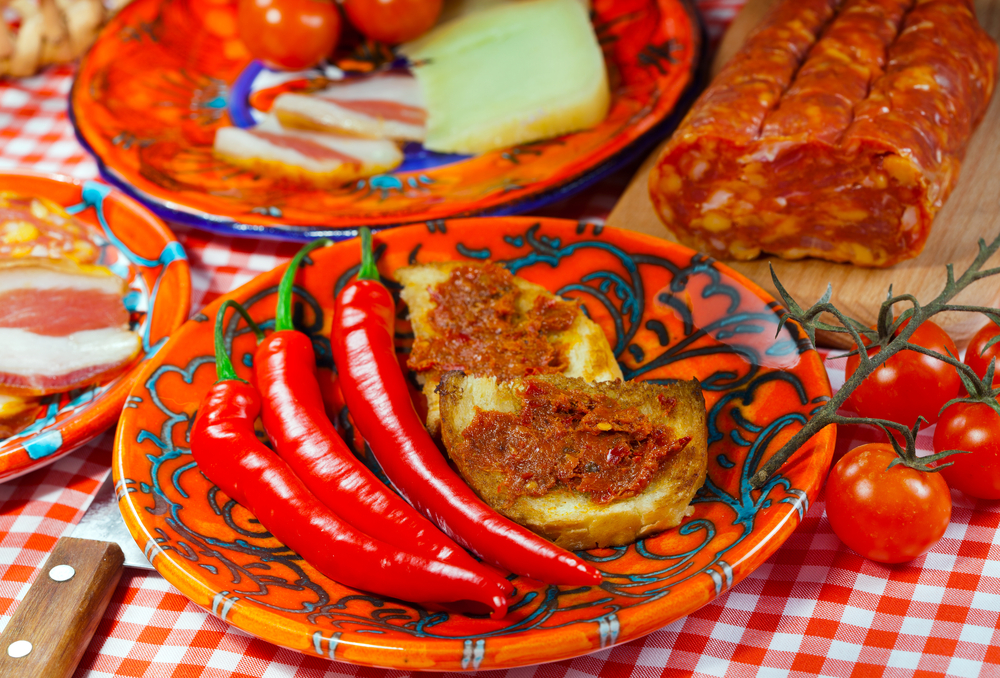 The south Italy Calabria locale food soft sausage nduja peper tomato cheese