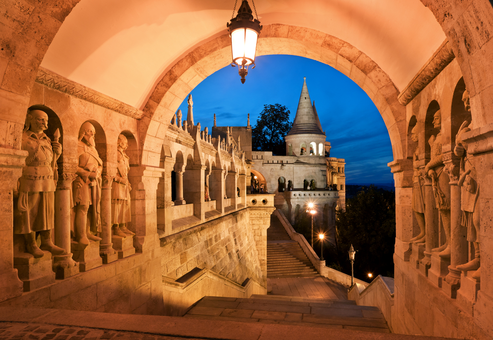 The south gate of the Fishermans Bastion in Budapest Hungary 4