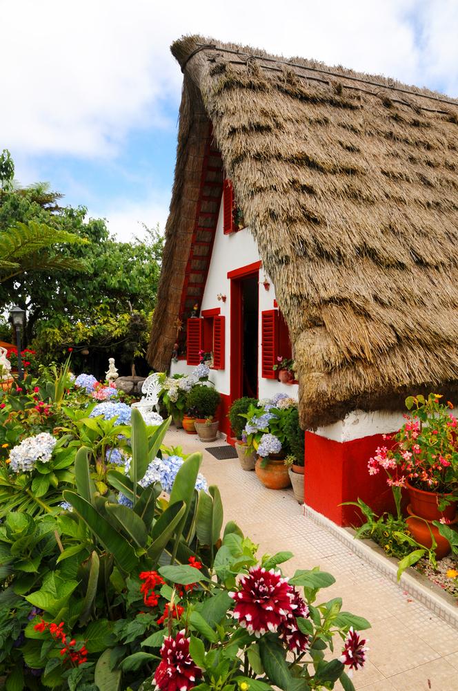 The traditional house of farmer at Santana at Madeira Island