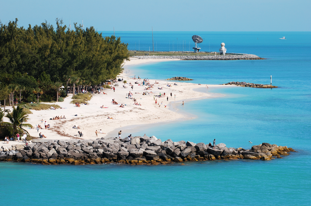 The view of Key West town beach next to the military base Florida