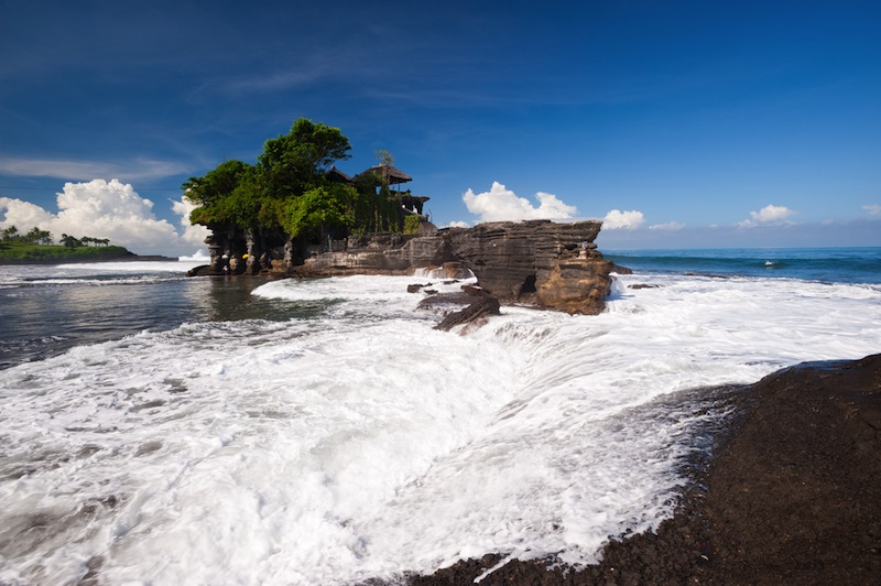 This image shows the Tanah Lot temple in Bali island indonesia