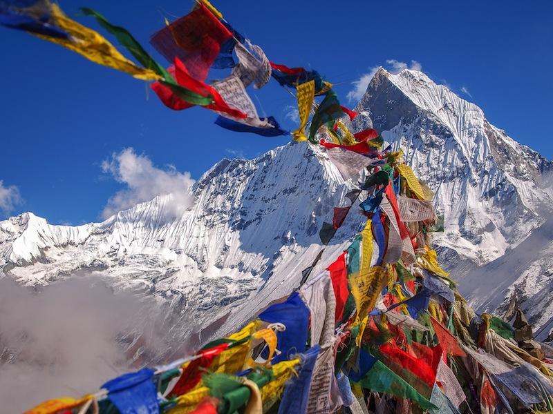 Tibetan Flags at Annapurna Base Camp 4200m Himalaya Nepal