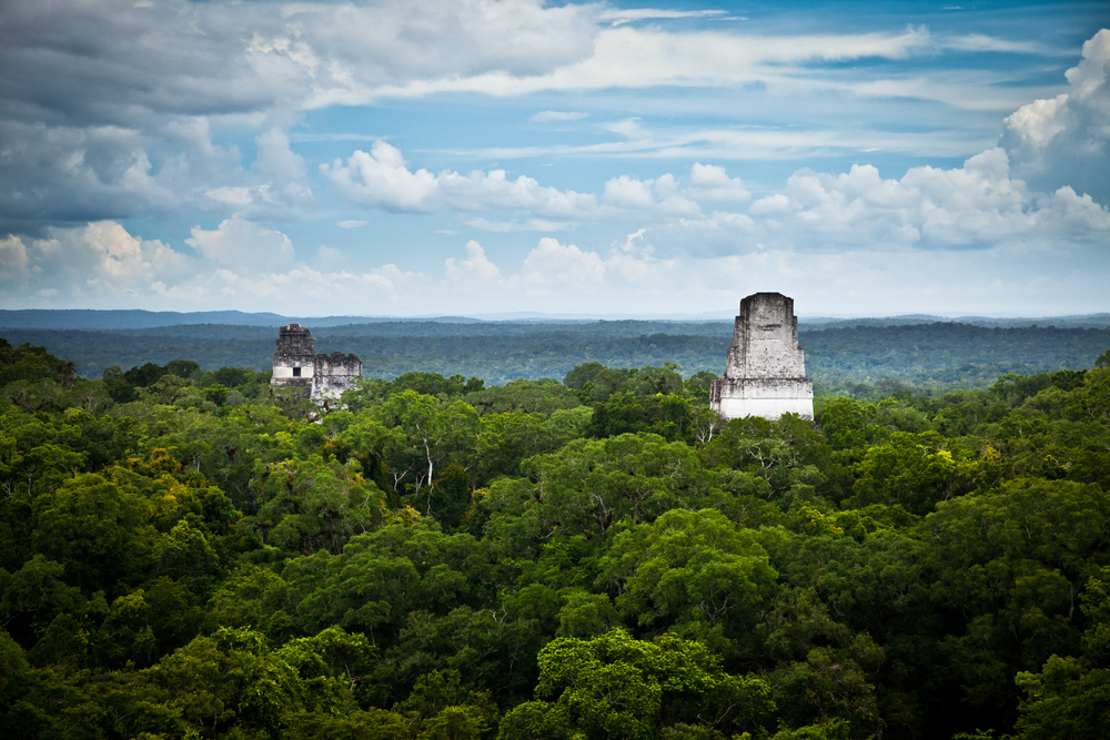 Tikal Mayan ruins in Guatemala seen from temple IV