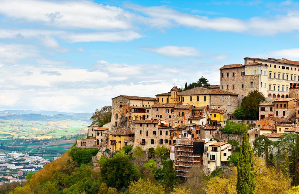 Todi over the Umbrian Valley Italy