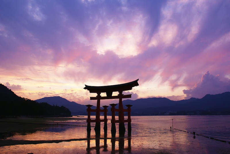 Torii gate Miyajima Japan Stock Photo 552