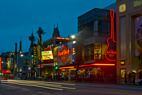 Tourists flock to nightlife businesses on Hollywood Boulevard on May 17