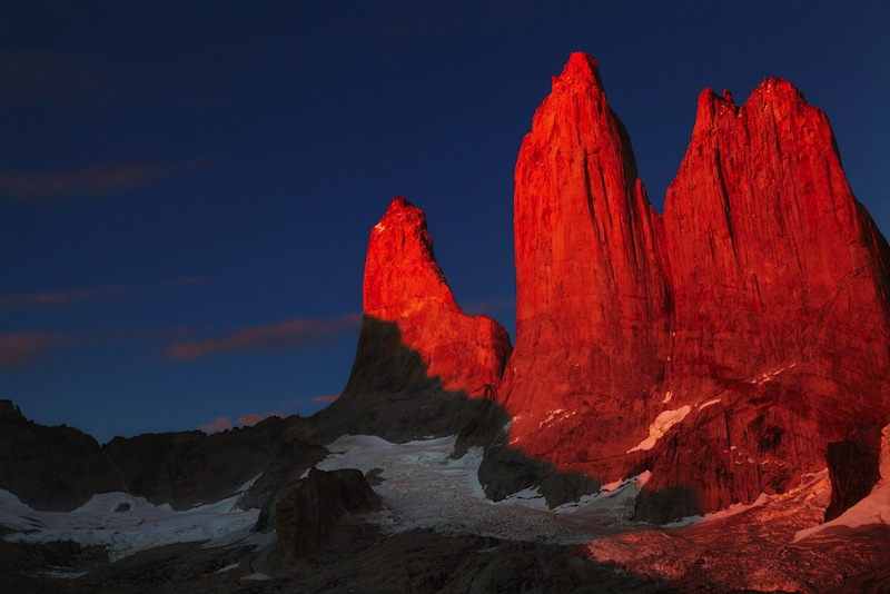 Towers at sunrise Torres del Paine National Park Patagonia Chile