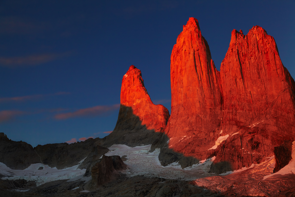 Towers at sunrise Torres del Paine National Park Patagonia Chile8