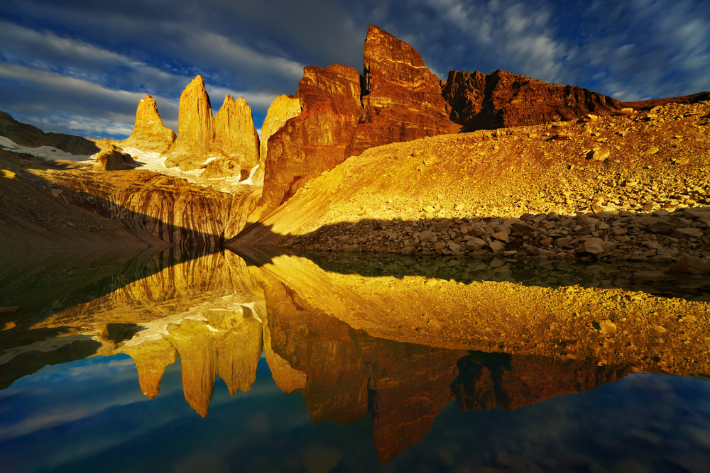Towers with reflection at sunrise Torres del Paine National Park Patagonia Chil