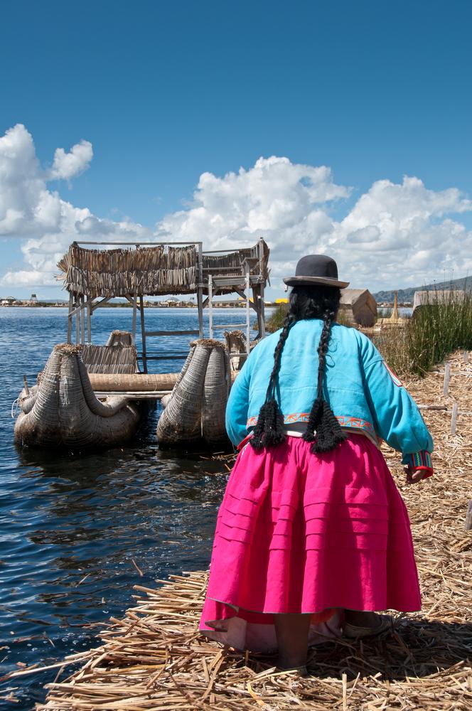 Traditional reed boat lake Titicaca Peru 2