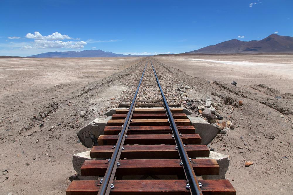 Train on a high plateau Altiplano of Bolivia
