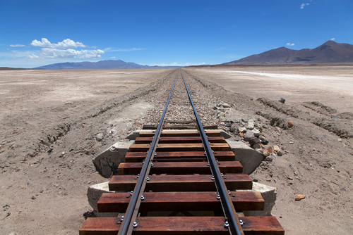 Train on a high plateau Altiplano of Bolivia