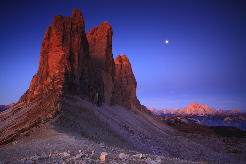 Tre cime di Lavaredo at sunrise Dolomite Alps Italy