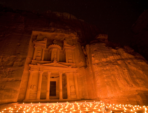 Treasury at Petra Jordan lit by candle under the stars