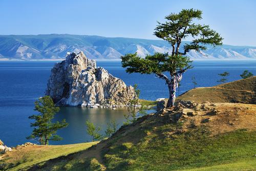 Tree of desires on cape Burhan of Olkhon Island on Lake Baikal Russia