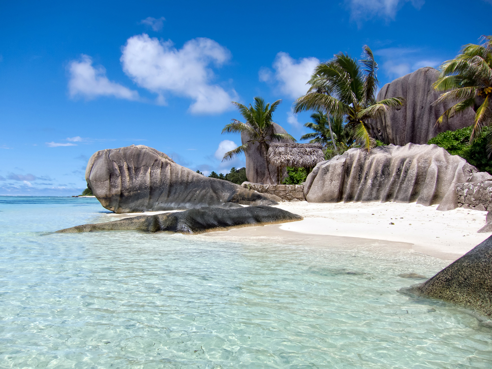 Tropical beach of La Digue Seychelles