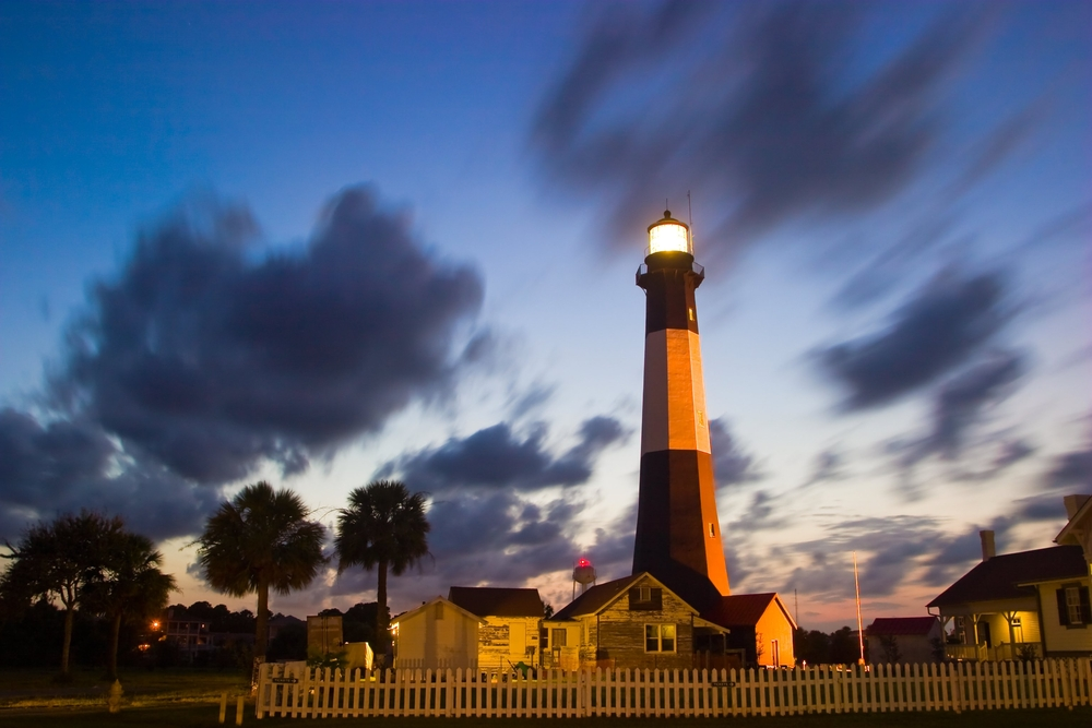 Tybee Lighthouse at a Cloudy Night