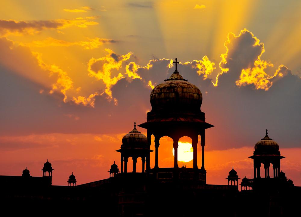 Typical Mogul 9design palace domes at sunset Rajasthan India