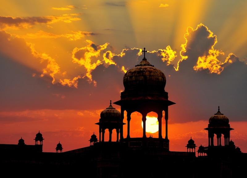 Typical Mogul design palace domes at sunset Rajasthan India
