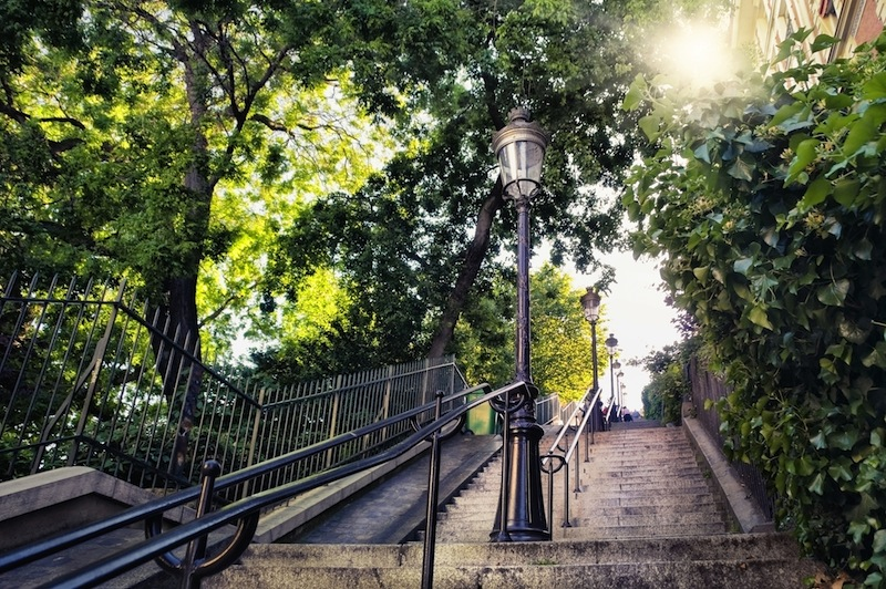 Typical Montmartre staircase in Paris