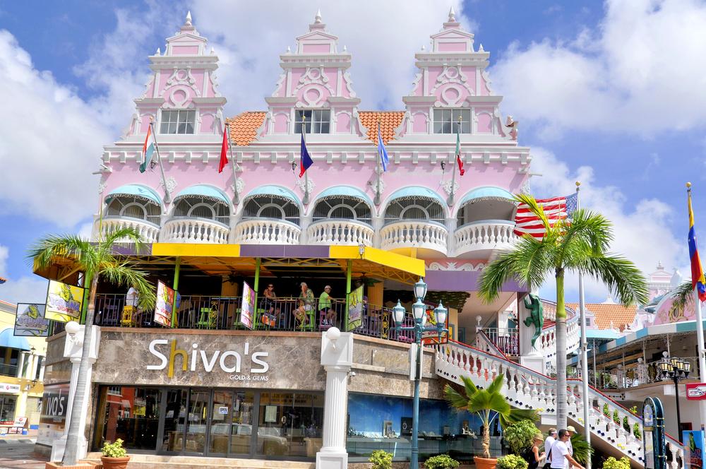 Typical dutch design architecture center square in on november 2 2012 in Oranjestad Aruba Caribbean windward islands lesser antillies west indies
