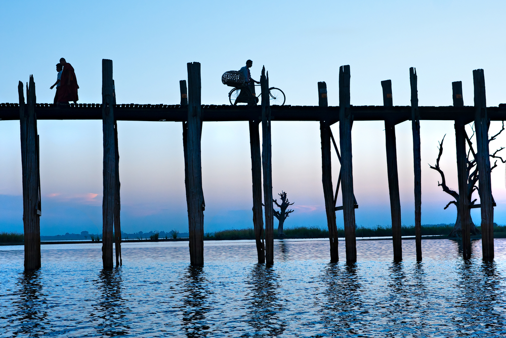 U bein bridge at Amarapura Mandalay Myanmar