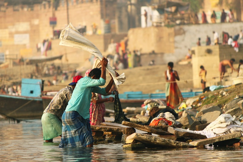 Unidentified Men at work in a Laundry Dhobighat at Varanasi