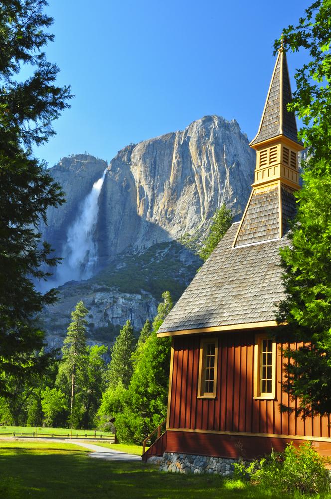 Upper Yosemite Falls and Yosemite Chapel on a gorgeous day