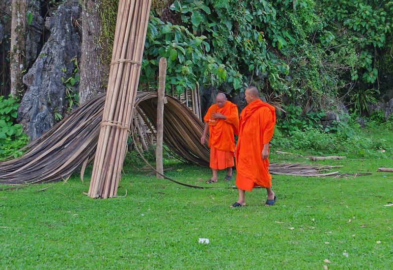 VANG VIENG LAOS DEC 7 Buddhist monks in the village on Dec 7 2012 in Vang Vieng Laos