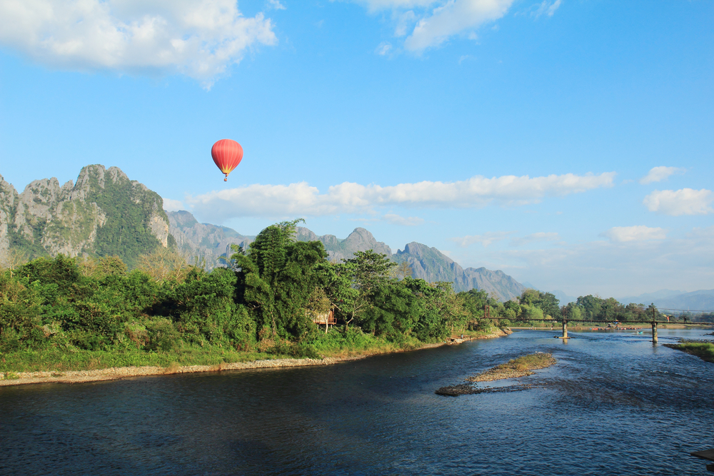 Vang Vieng is a tourism oriented town in Laos located in Vientiane Province about four hours bus ride north of the capital