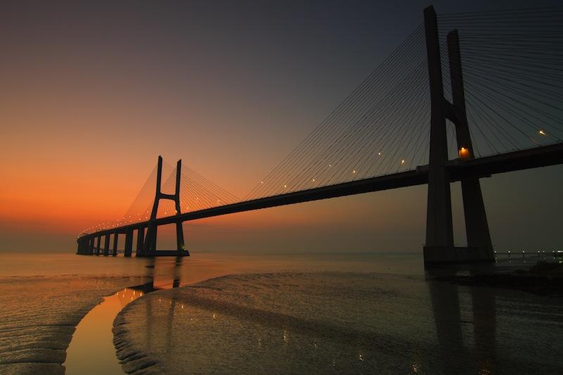Vasco da Gama bridge in Lisbon Portugal at