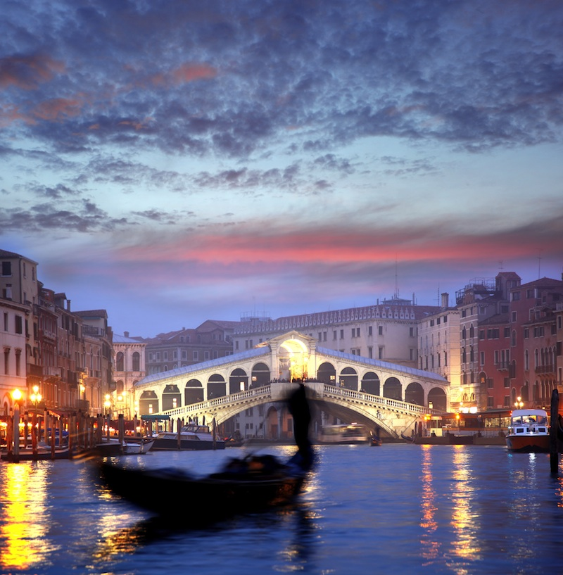 Venice with gondola in the