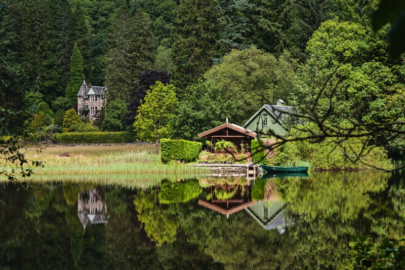 Victorian houses at the lakeside the of Loch Ard Trossachs National Park Stirling District Scotland United Kingdom
