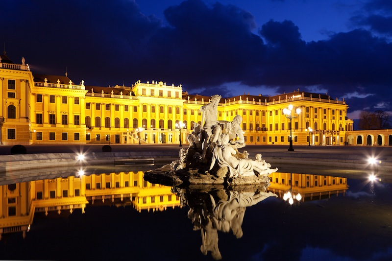 Vienna by night Schonbrunn Palace