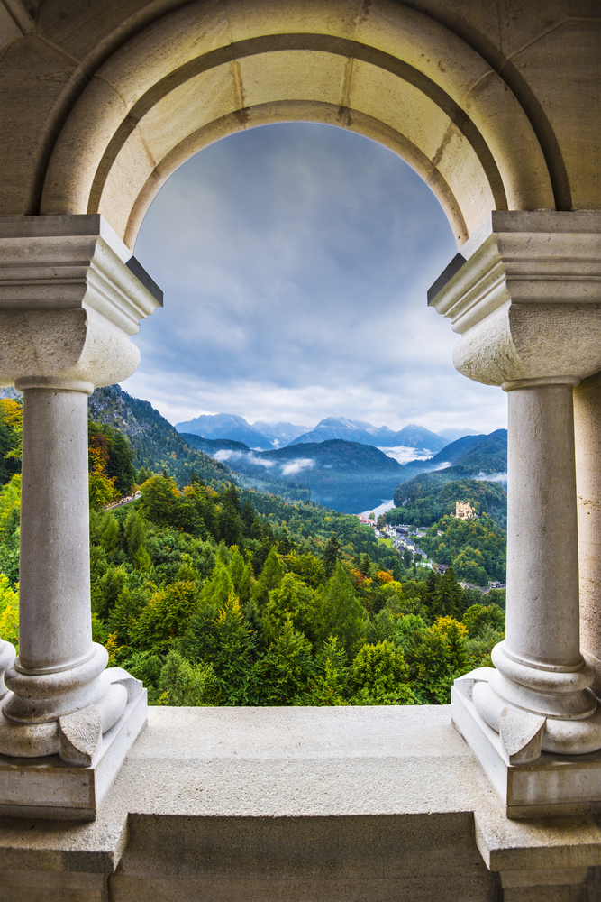 View from Neuschwanstein Castle in the Bavarian Alps of Germany