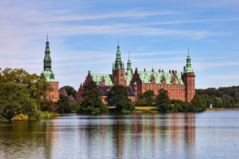 View of Frederiksborg castle in Hillerod Denmark