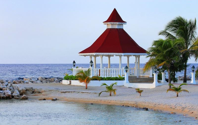 View of gazebo on the beach for weddings Jamaica