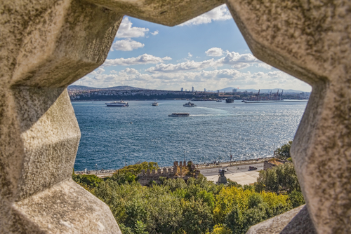 View of the Bosporus through the stone rosette from Topkapi Palace in Istanbul