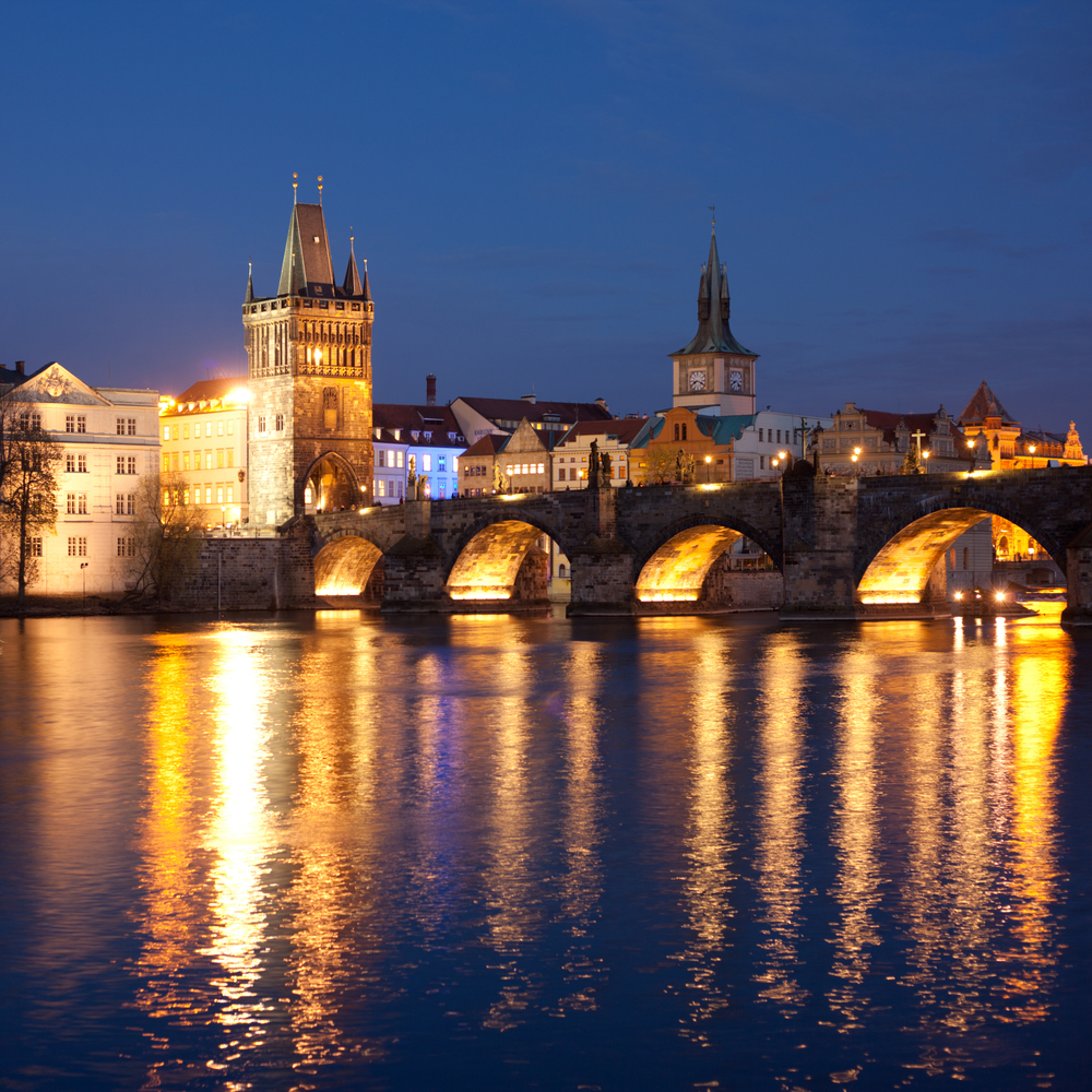 View of the Lesser Bridge Tower of Charles Bridge in Prague Karluv Most the Czech Republic