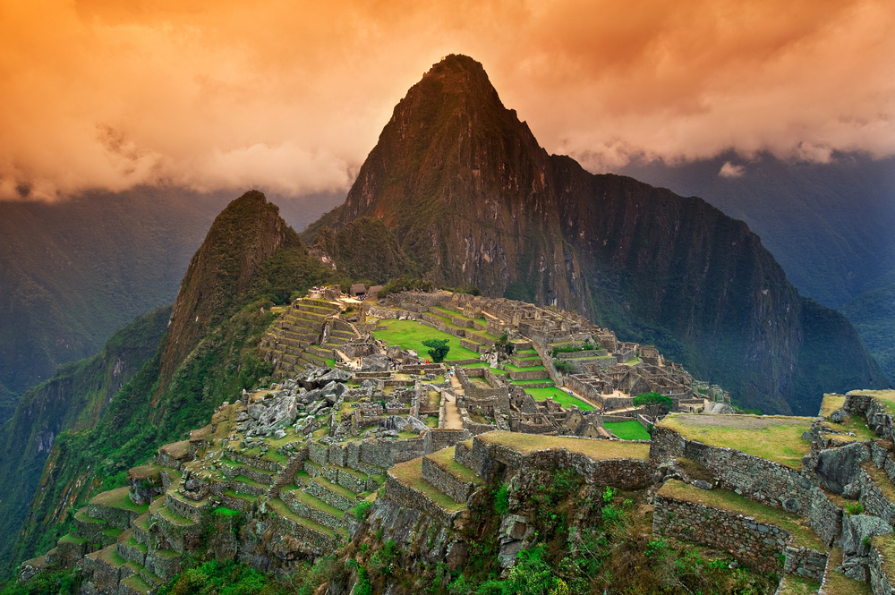 View of the Lost Incan City of Machu Picchu near Cusco Peru