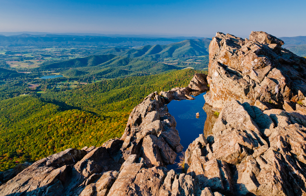 View of the Shenandoah Valley and Blue Ridge Mountains from Little Stony Man Cliffs Shenandoah National Park Virginia