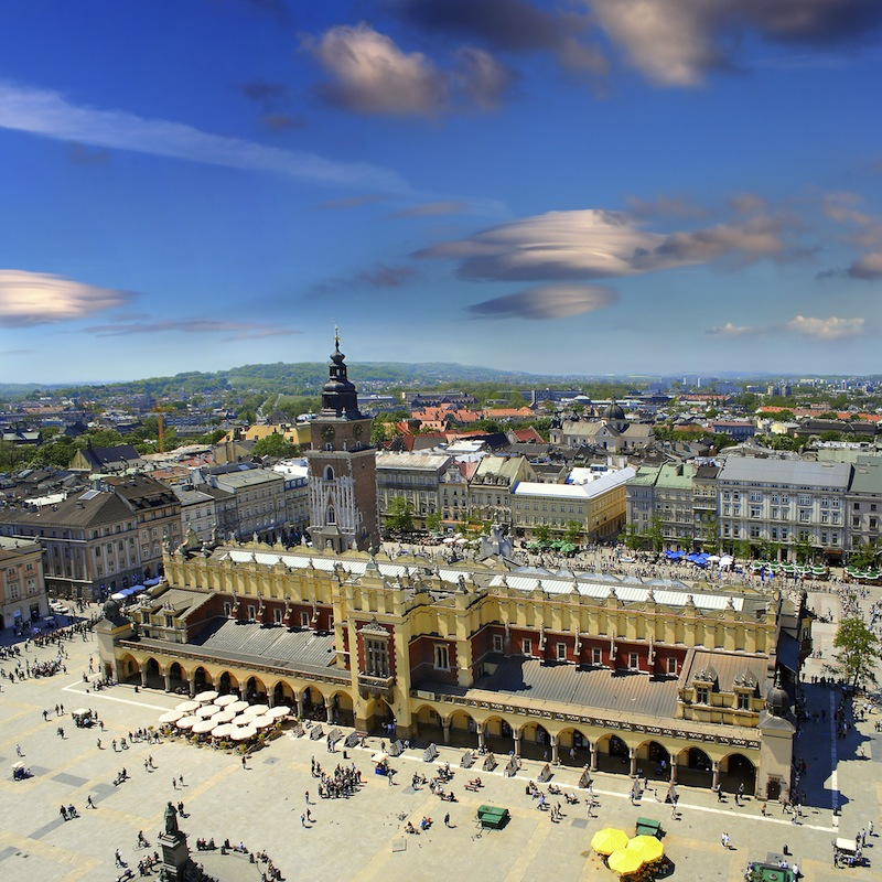 View of the old town of Cracow old Sukiennice Poland World Heritage Site by UNESCO