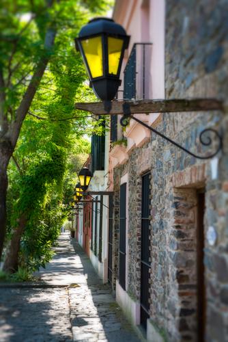 View of the street in Colonia del Sacramento in Uruguay