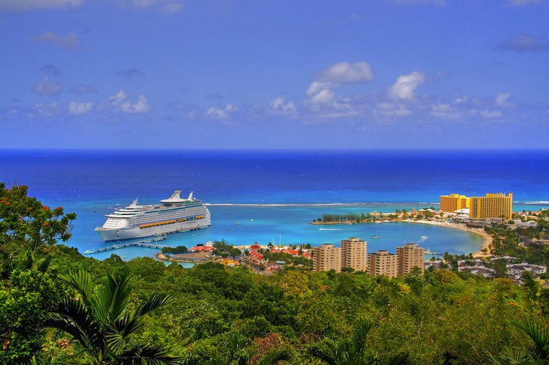 View over Ocho Rios port town Jamaica